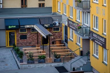 Venkovní zahrádka z výšky - restaurace České Budějovice